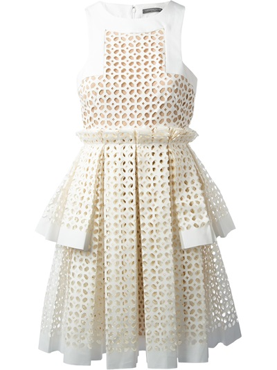 Alexander Mcqueen Laser Cut Box Pleat Dress - Stefania Mode - Farfetch.com
