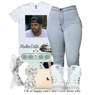 shirt white blue baby blue drake cute dope adidas diamonds outfit jeans