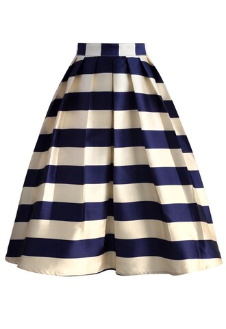 skirt marine blue striped midi skirt chicwish midi midi skirt