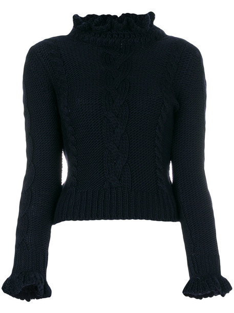 jumper ruffle women blue wool sweater