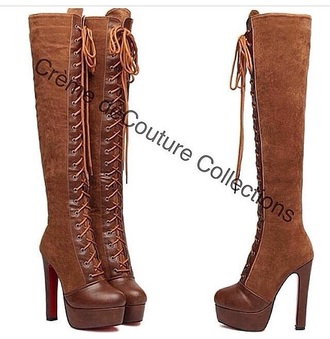 shoes high heels boots style knee high boots winter boots heels cognac shoes