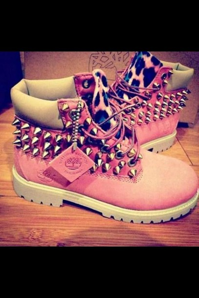 shoes, timberlands, pink, leopard print, studs, boots, swag
