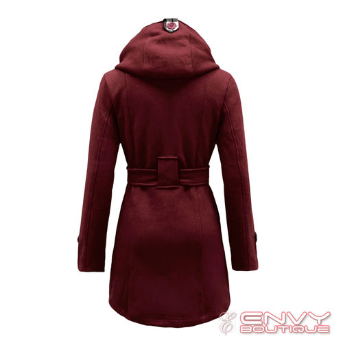 LADIES MILITARY BUTTON HOODED FLEECE WOMENS BELTED JACKET COAT PLUS SIZE 8-20 | Amazing Shoes UK