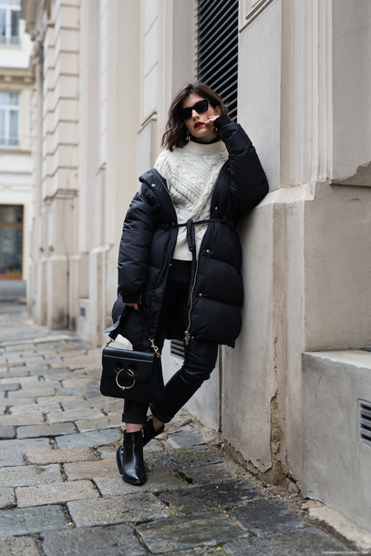 coat tumblr black coat winter outfits winter coat sweater white sweater knit knitwear knitted sweater denim jeans black jeans boots black boots bag black bag sunglasses