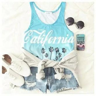 t-shirt california bleu imprime short