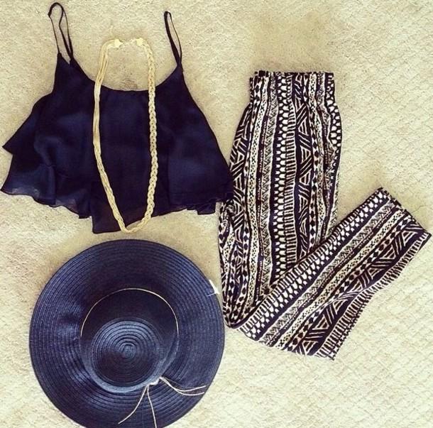 pants aztec tribal pattern black crop tops hat summer beach tank top