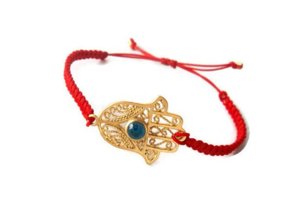 jewels bracelets jewelry red hamsahand hamsa macrame bracelet