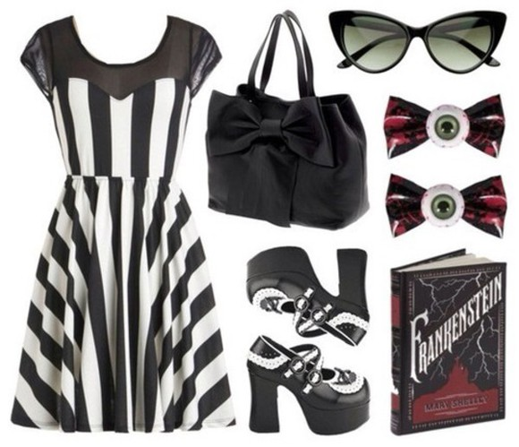 striped black and white dress goth striped dress gothic dress