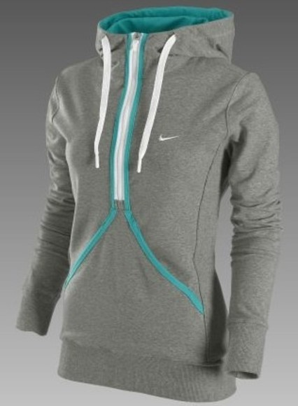 jacket nike grey sweatshirt teal zip-up