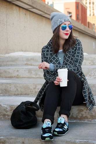 adventures in fashion blogger coat beanie mirrored sunglasses nike sneakers