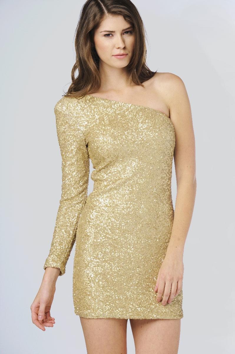 Judith One Sleeve Sequin Dress