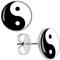 Black white yin yang stud earrings