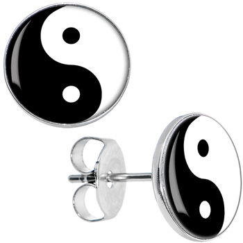 Black white yin yang stud earrings