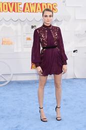 dress,mini dress,burgundy,cara delevingne,mtv movie awards,sandals,shoes