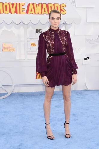 dress mini dress burgundy cara delevingne mtv movie awards sandals shoes