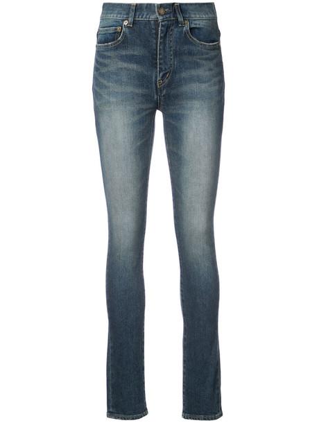 Saint Laurent jeans skinny jeans high women spandex cotton blue