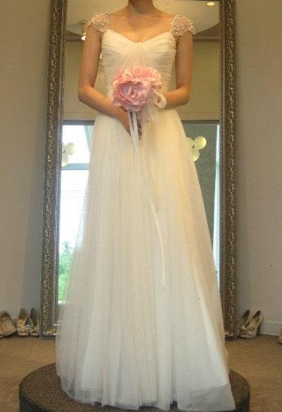 Cheap a line sweetheart cap sleeves floor length beach wedding dresses, simple beach wedding dresses