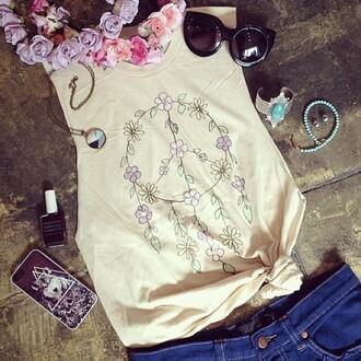 tank top t-shirt clothes dreamcatcher floral