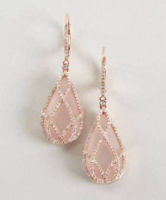 Julieri rose quartz and diamond 'Julia' drop earrings | BLUEFLY up to 70% off designer brands