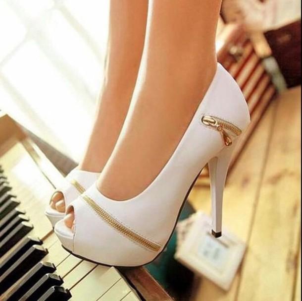 shoes white elegant bride zipper shoes gold high heels pumps plateau shoes peep toe pumps