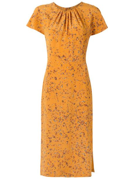 Andrea Marques dress midi dress women midi silk yellow orange