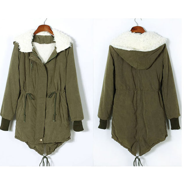 Thicken Fleece Warm Winter Coat ZIP UP Hooded Parka Long Jacket