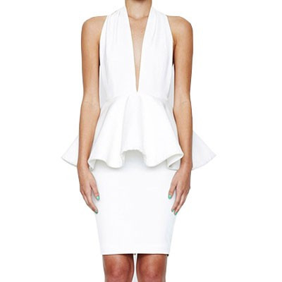 """haute minx"" white peplum backless bandage dress – glamzelle"