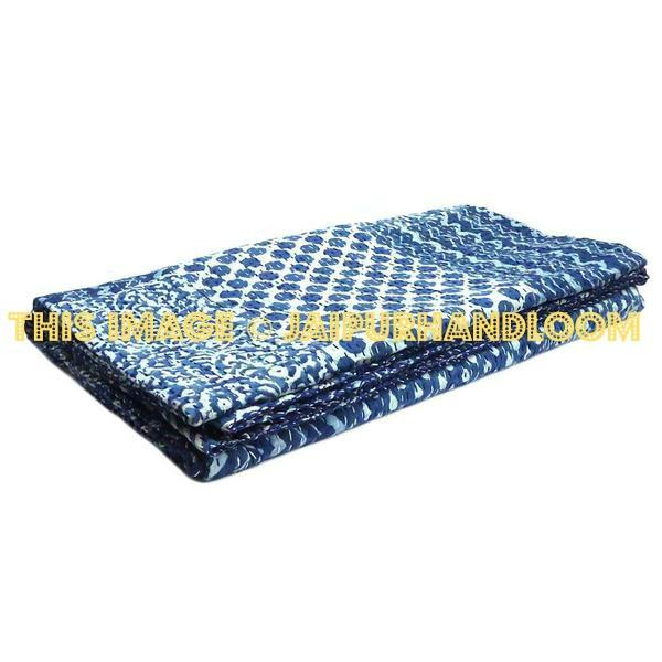 Indigo Kantha Quilt Throw Blanket