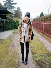 beauty fashion shopping,coat,pants,shoes,jewels,bag,t-shirt,fur leopard print winter coat,fur coat,leopard print,black beanie,beanie,leather pants,black pants,boots,ankle boots,black boots