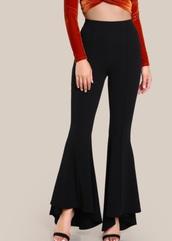 pants,girly,black,wide-leg pants,flare,flare pants,trendy,high waisted