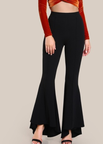 pants girly black wide-leg pants flare flare pants trendy high waisted
