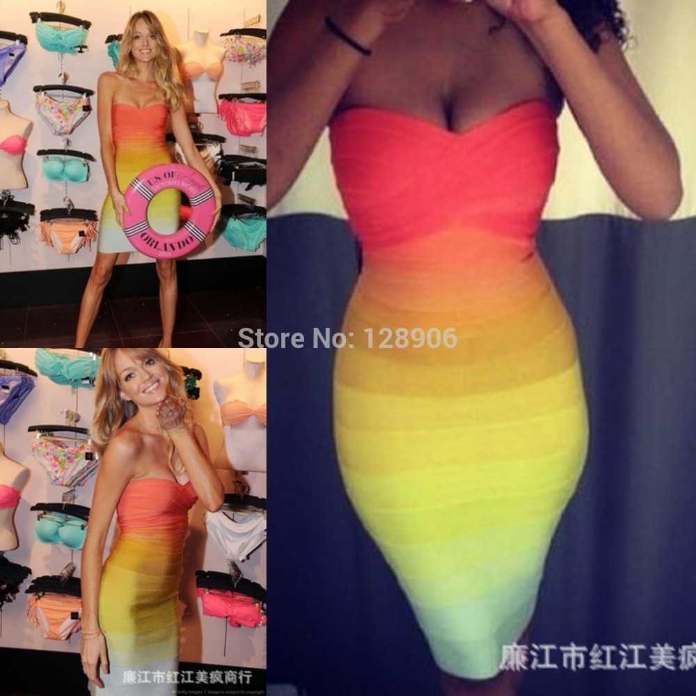 Aliexpress.com : Buy Lindsay Ellingson Celebrity Dresses Strapless 2014 Women Elastic Knitted Sexy Gradient Bodycon Dresses Bandage Dress Rainbow from Reliable dress broken suppliers on Babyzone