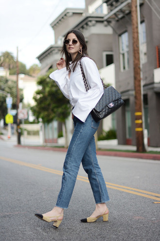 shirt tumblr white shirt oversized shirt oversized bag black bag chanel chanel bag denim jeans blue jeans chanel slingbacks chanel shoes mid heel sandals sunglasses theclosetheroes blogger dress top t-shirt jacket shoes