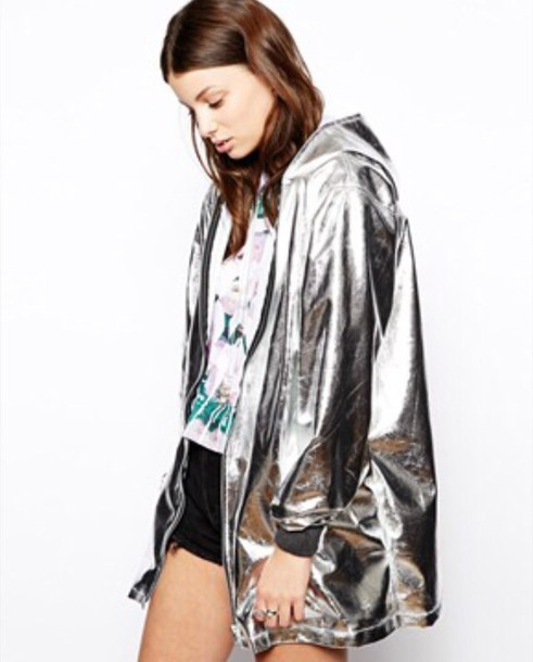 in stock low priced stylish design The Ragged Priest Hologram Metalic Hooded Rain Coat at asos.com