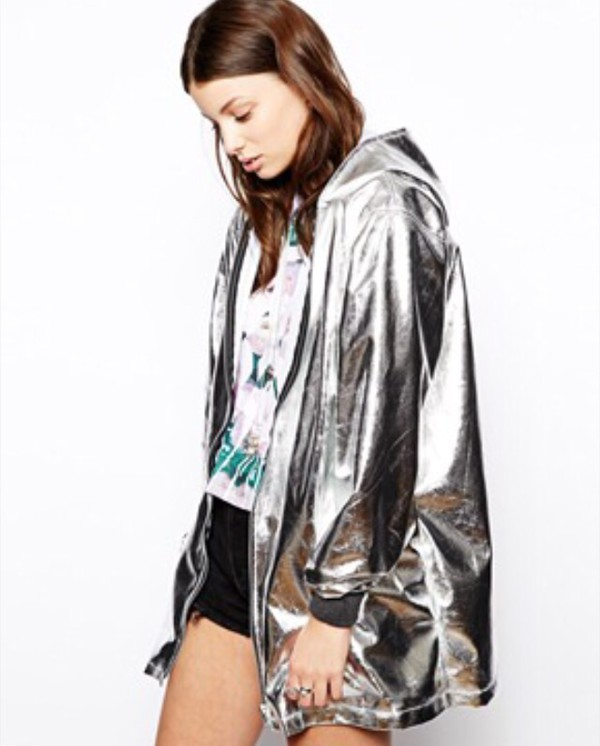 Coat: metallic, rain coat, asos, black, grey, silver, the ragged ...
