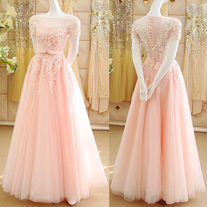 Pink Princess Prom Dresses with Lace Appliques, Off-the-shoulder Pink Prom Gowns, Best Blush Tulle Ball Gown with a Belt, #020102121 on Storenvy