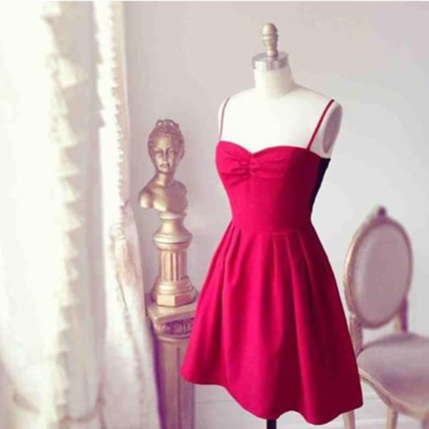 dress red sundress spaghetti strap
