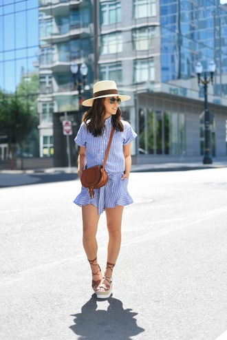 crystalin marie blogger romper hat jewels blue romper shoulder bag mini bag brown bag lace up lace up heels wedges banana republic forever 21