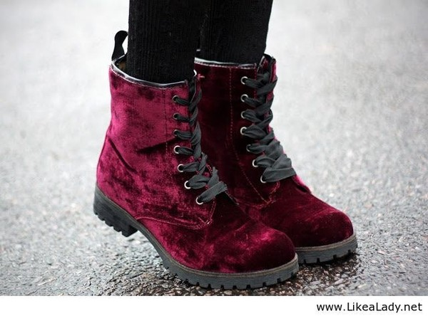 shoes hipster red burgundy boots winter outfits