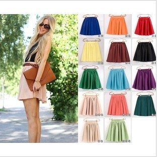 19 color women soft chiffon Short skirt bohemian pleated Short Skirts lady high quality double layer chiffon Skirt-in Skirts from Apparel & Accessories on Aliexpress.com