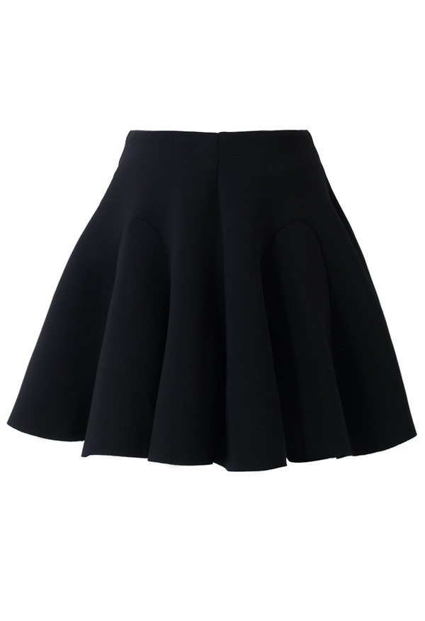 skirt airy quilt pleated skater skirt black