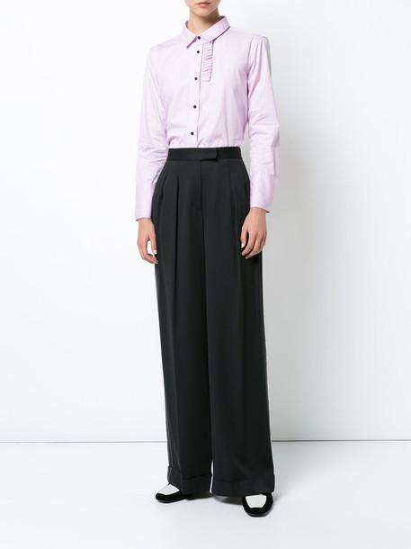 Lareida - pinstripe ruffle shirt - women - Cotton - 42, Pink/Purple, Cotton