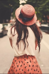 hat,bow,pink,black,straw hat,wicker,white shirt,skirt,birds,skater skirt,cats