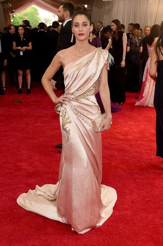 dress gown one shoulder prom dress lizzy caplan red carpet dress met gala metgala2015