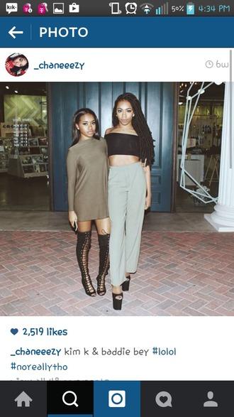dress crop tops pants lace-up shoes romper shoes