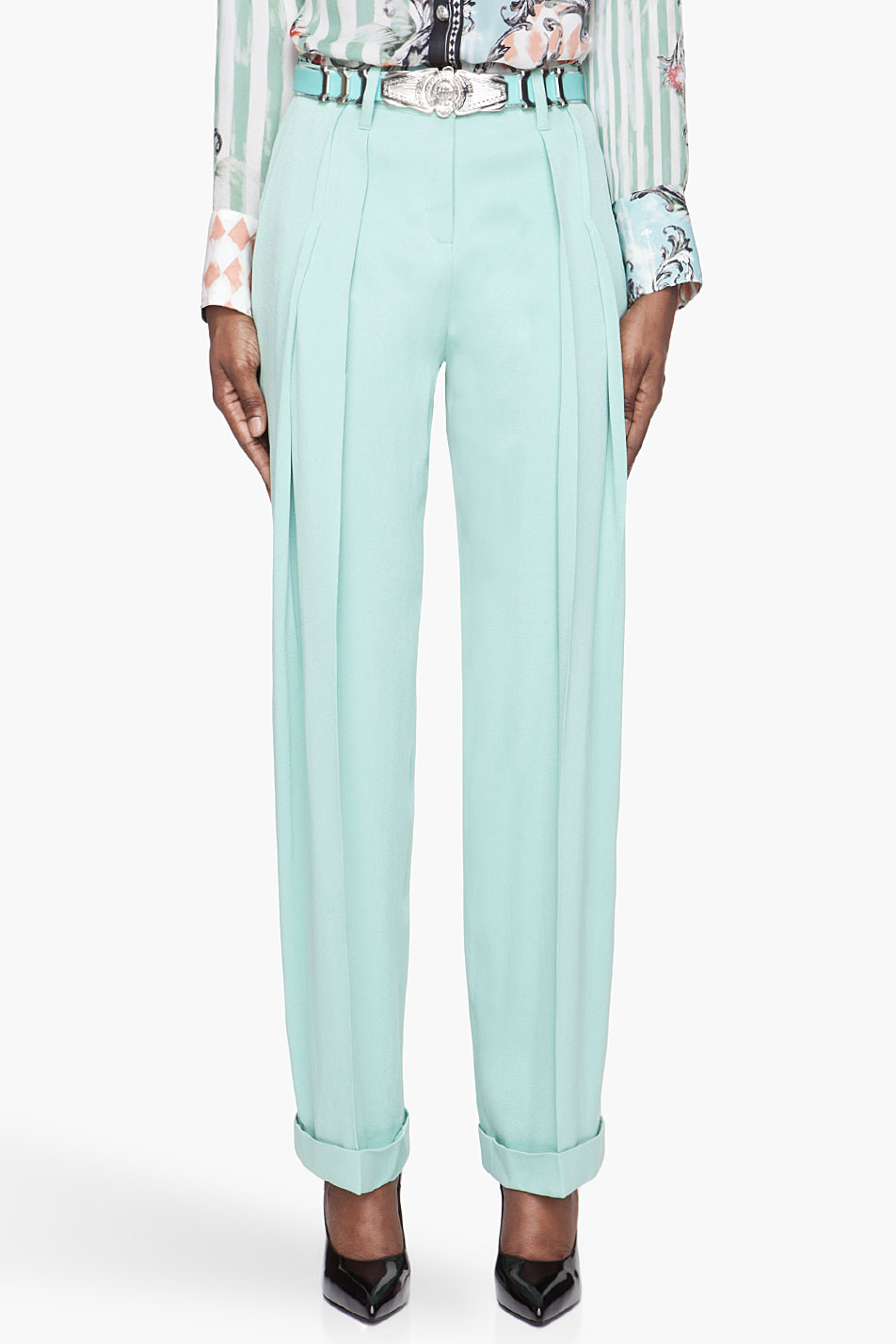 balmain mint green pleated silk trousers