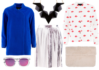 jane's sneak peak blogger sunglasses metallic silver blue coat mirrored sunglasses lips furry pouch metallic skirt