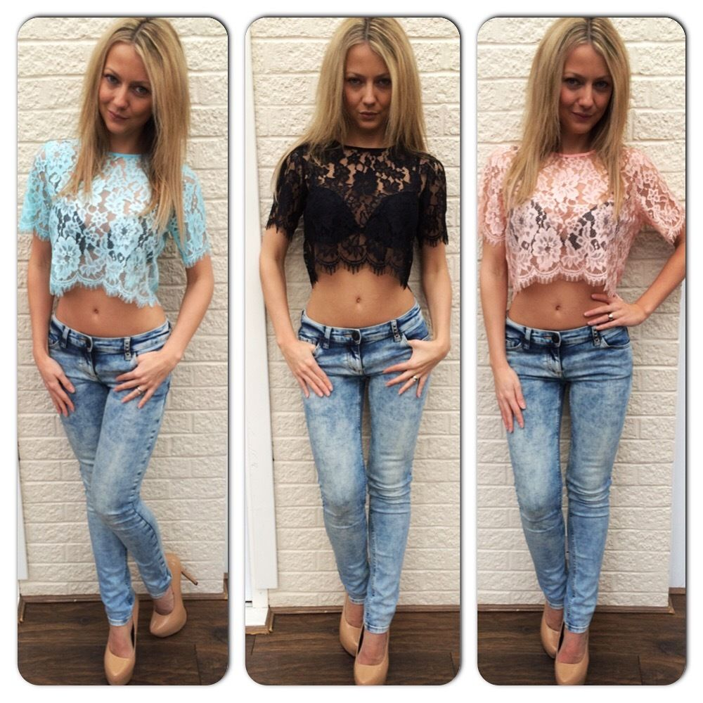 New Sexy Ladies Womens Crochet Lace Scallop Sheer Crop Cropped Top Tee Blouse