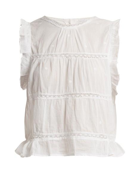 top sleeveless ruffle cotton white