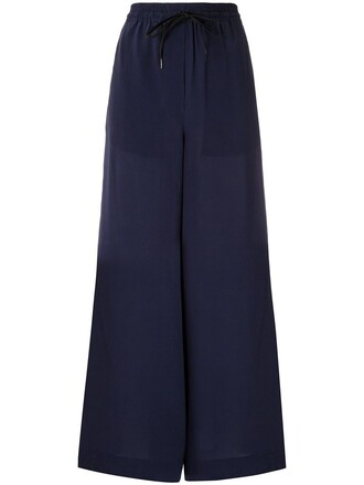 women drawstring blue silk pants